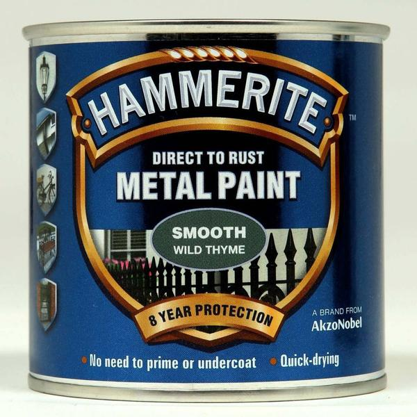 Hammerite Direct to Rust Smooth Effect Metal Paint Grey 0.25L