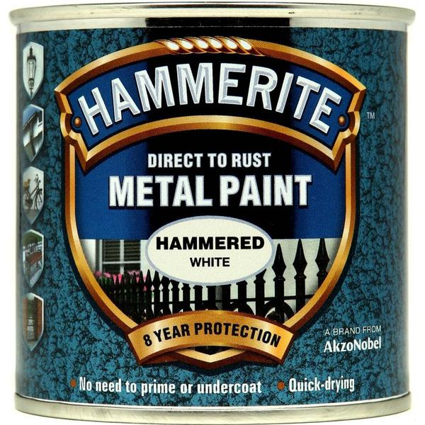 Hammerite Direct to Rust Hammered Effect Metal Paint White 0.25L