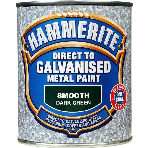 Hammerite Direct to Galvanised Metal Paint Green 0.75L