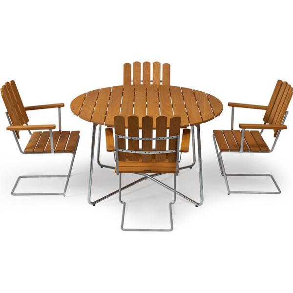 Grythyttan 9A 120cm inkl. 4st A2 Armchair Havemøbelsæt, 1 borde inkl. 4 stole