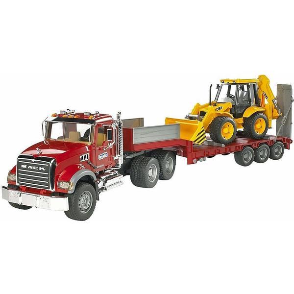 Bruder MACK Granite Truck with Low Loader & JCB 4CX 02813