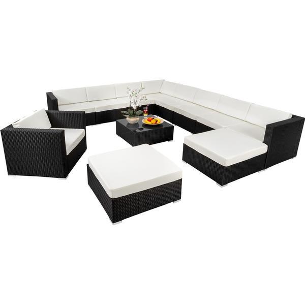 tectake Polyrattan loungesæt Las Vegas Loungesæt, 1 borde inkl. 1 stole & 2 sofaer