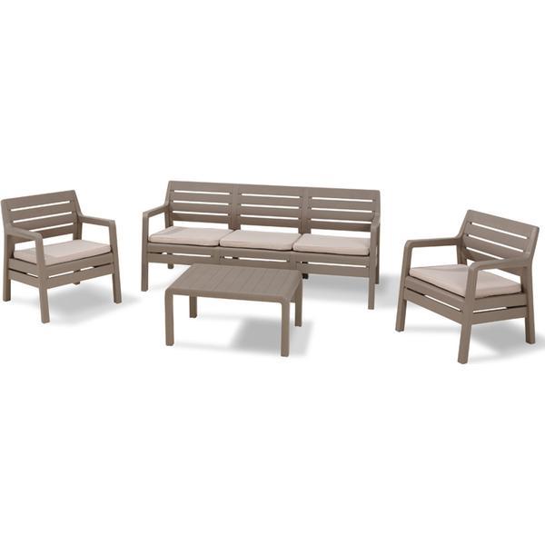 Allibert Delano 3-seat Loungesæt, 1 borde inkl. 2 stole & 1 sofaer