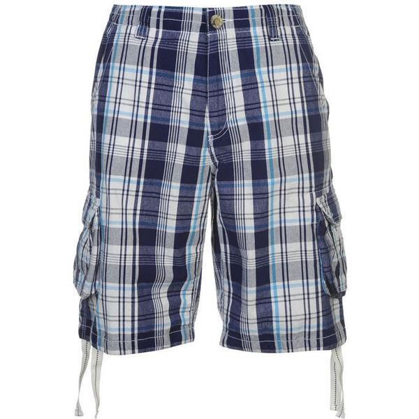 SoulCal Check Cargo Shorts White/Navy/Blue
