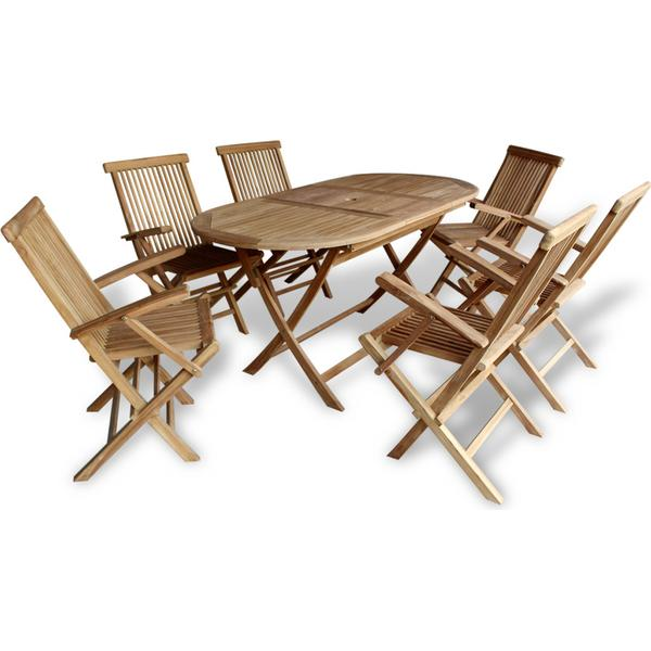 vidaXL 42004 Havemøbelsæt, 1 borde inkl. 6 stole
