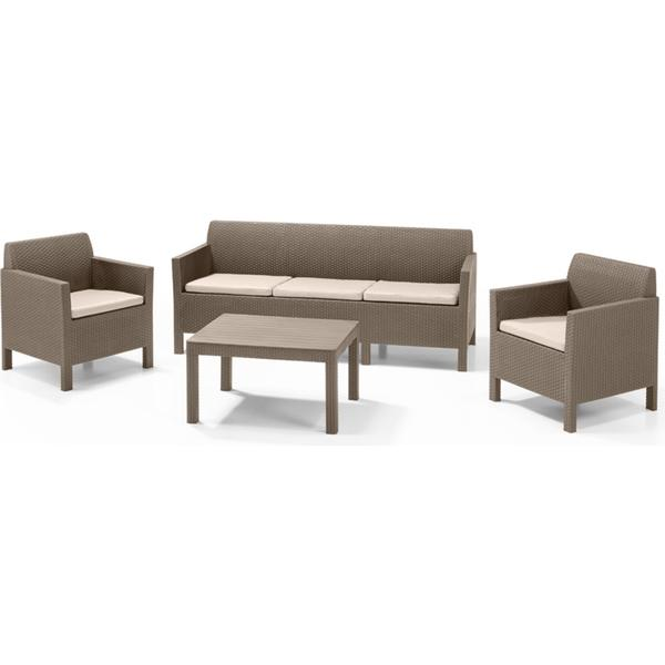 Allibert Orlando 3-seat Havesofa (modul/stk) Loungesæt, 1 borde inkl. 2 stole & 1 sofaer