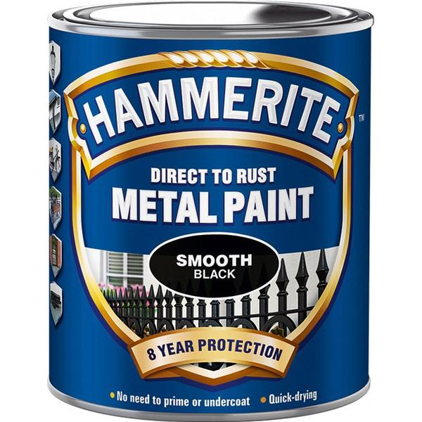Hammerite Direct to Rust Smooth Effect Metal Paint Black 0.75L
