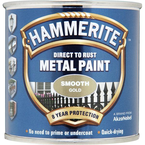 Hammerite Direct to Rust Smooth Effect Metal Paint Gold 0.75L