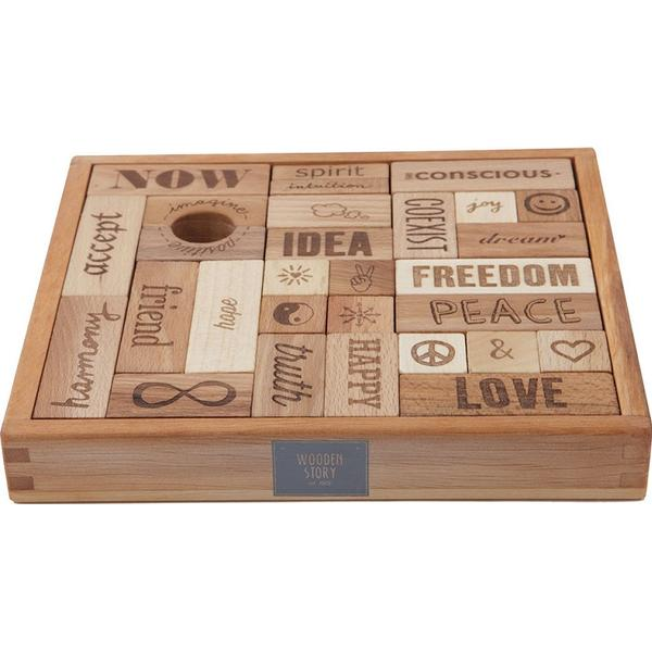 Wooden Story Peace & Love Blocks 29pcs
