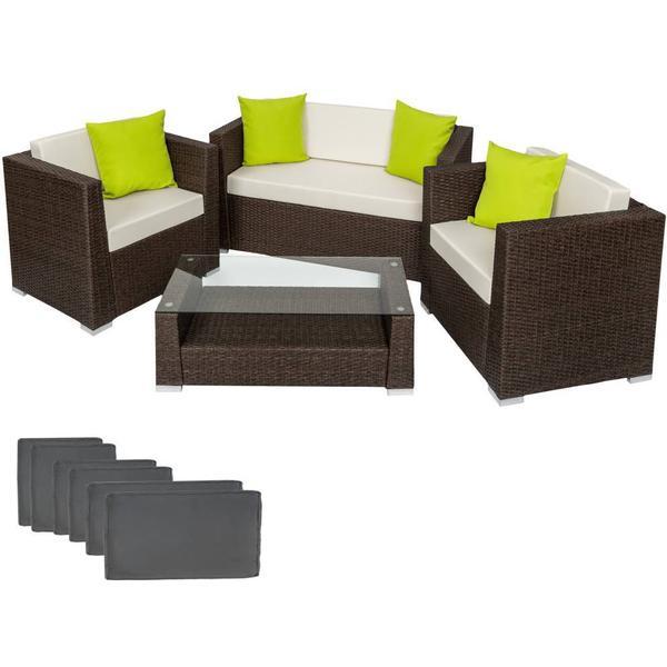 TecTake 401993 Loungesæt, 1 borde inkl. 2 stole & 1 sofaer