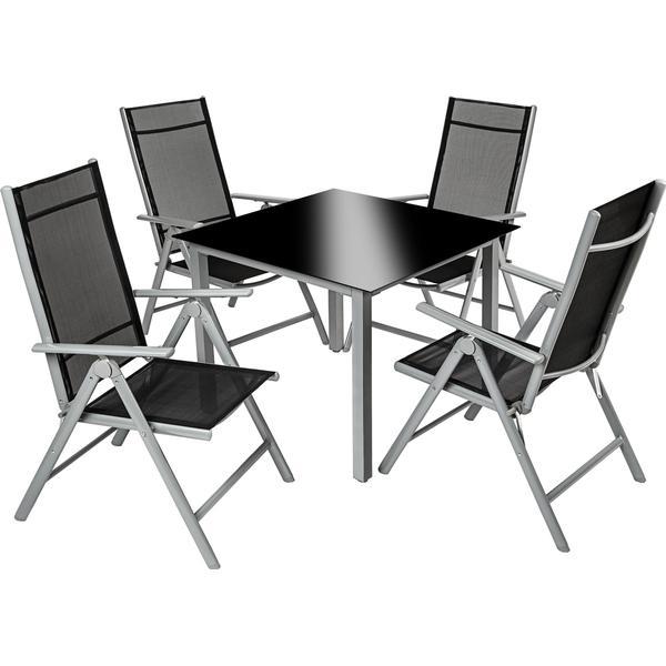 TecTake 402169 Havemøbelsæt, 1 borde inkl. 4 stole