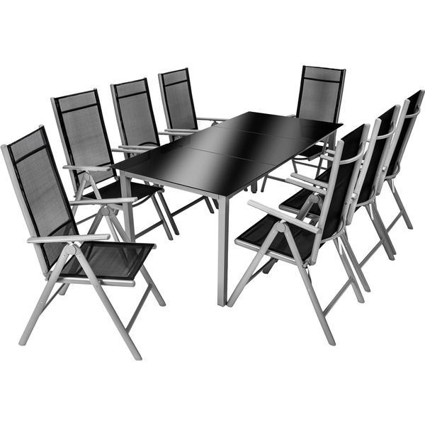 TecTake 402165 Havemøbelsæt, 1 borde inkl. 8 stole