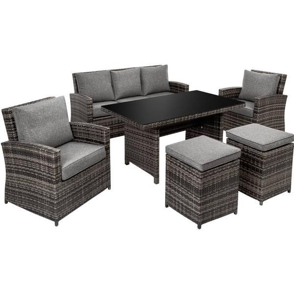 TecTake 402481 Loungesæt, 1 borde inkl. 2 stole & 1 sofaer