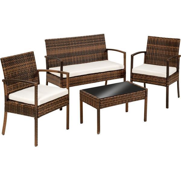TecTake 401483 Loungesæt, 1 borde inkl. 2 stole & 1 sofaer