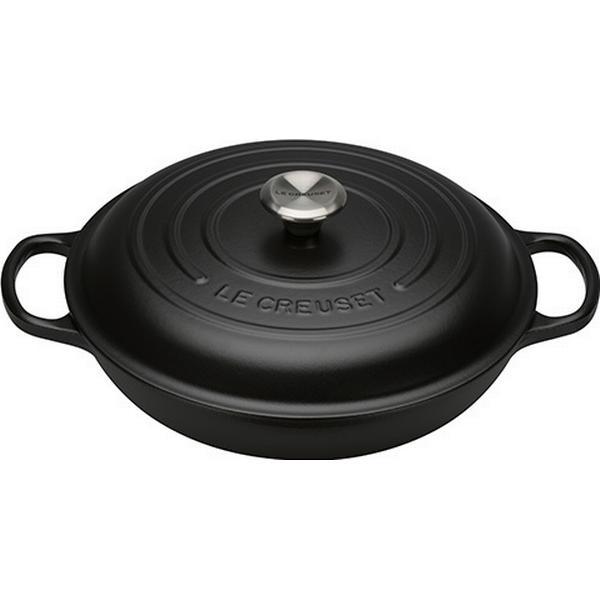 Le Creuset Satin Black Signature Shallow Casserole with lid 30cm