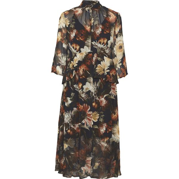 07aa6058 Gestuz Fergie Long Dress Multi Black Flower - Sammenlign priser hos ...
