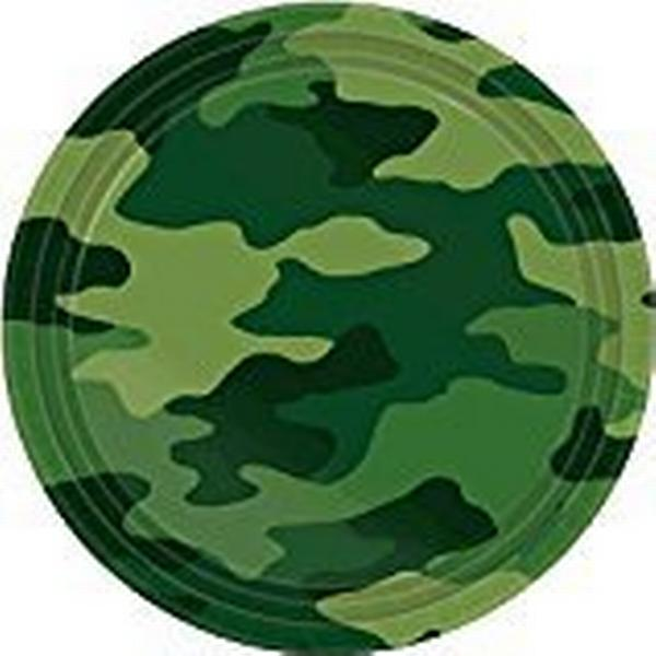 Amscan Camouflage Paper Plates Disposable Dinnerware