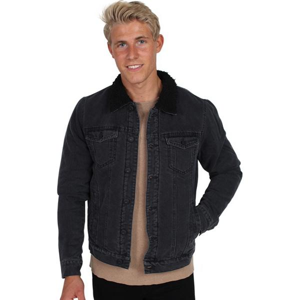 Only & Sons Louis Fur Denim Jacket - Black