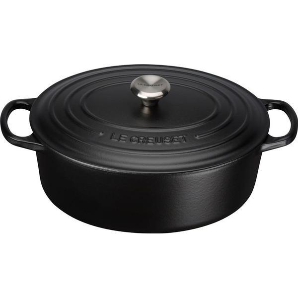 Le Creuset Satin Black Signature Cast Iron Oval Other Pots with lid 27cm