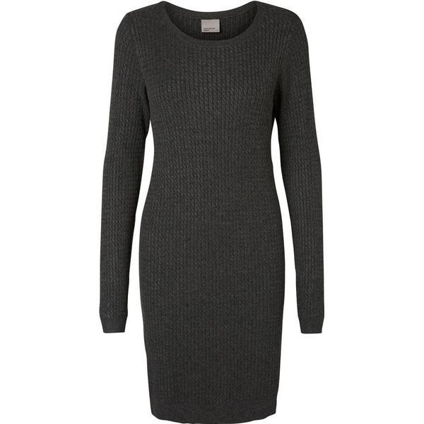 a697e36a Vero Moda Knitted Long Sleeved Dress Grey/Dark Grey Melange ...