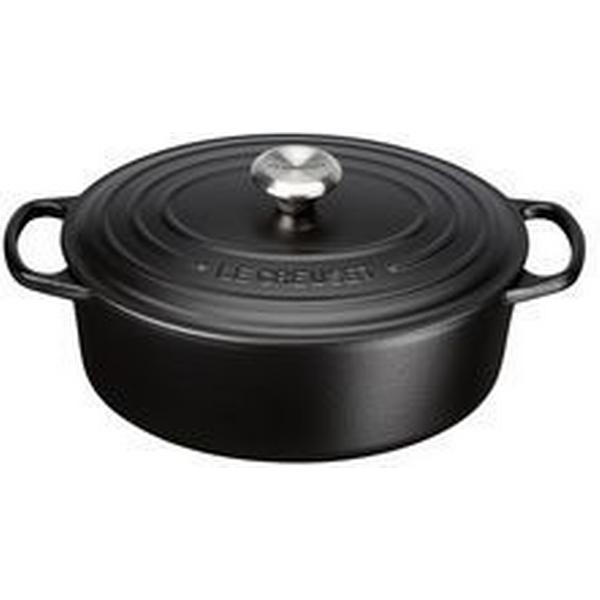 Le Creuset Satin Black Signature Cast Iron Oval Other Pots with lid 29cm
