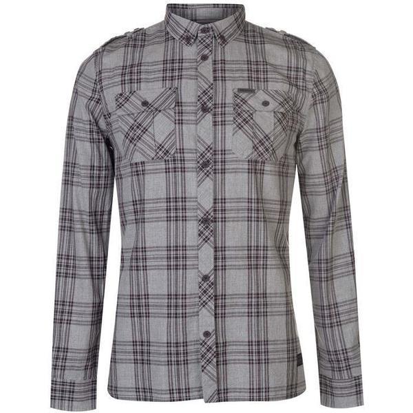 Firetrap Blackseal Large Check Shirt Grey