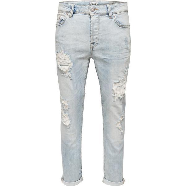 Only & Sons loom Light Destroyed Slim Fit Jeans Light Blue Denim