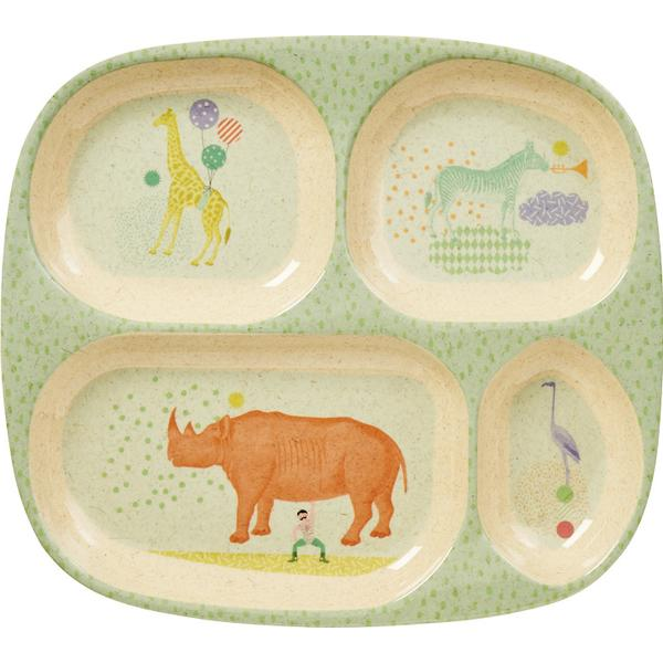 Rice Kids 4 Room Bamboo Melamine Plate with Animal Print