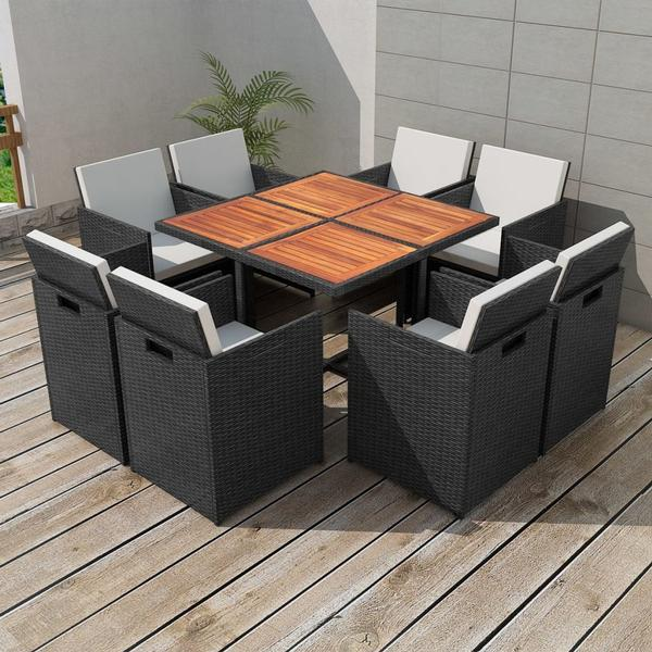 vidaXL 42546 Havemøbelsæt, 1 borde inkl. 8 stole