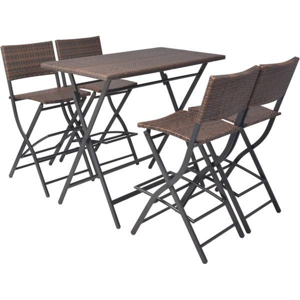 vidaXL 42875 Havemøbelsæt, 1 borde inkl. 4 stole