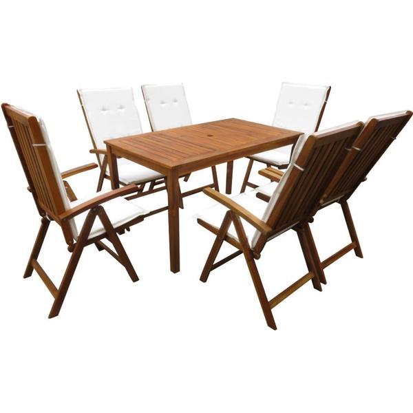 vidaXL 42612 Havemøbelsæt, 1 borde inkl. 6 stole