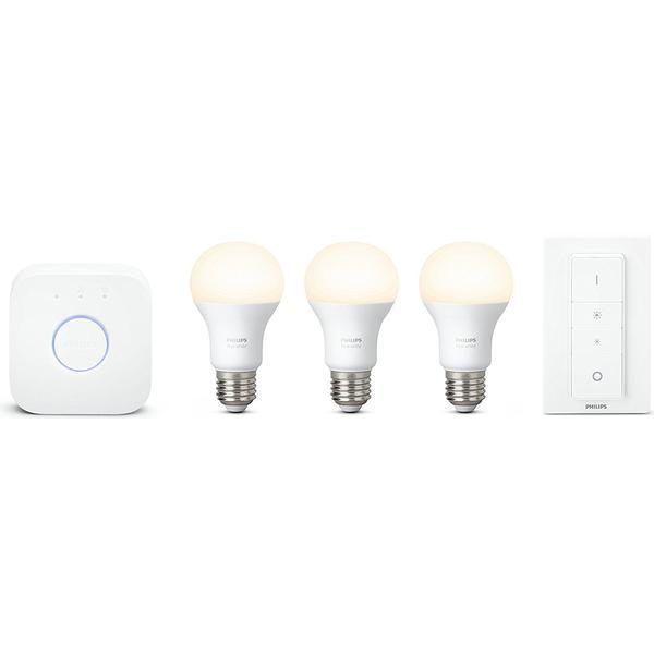 philips hue white led lamp 9 5w e27 3 pack starter kit hitta b sta pris recensioner och