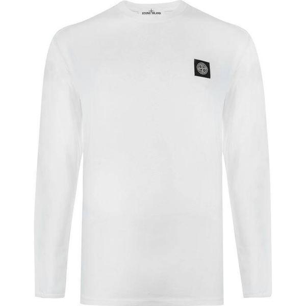 Stone Island Patch Logo Long Sleeve T-shirt White