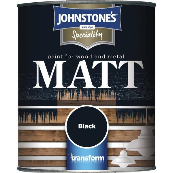 Johnstones Speciality Matt Wood Paint, Metal Paint Black 0.25L