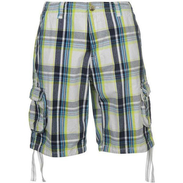 SoulCal Check Cargo Shorts White/Green/Nvy