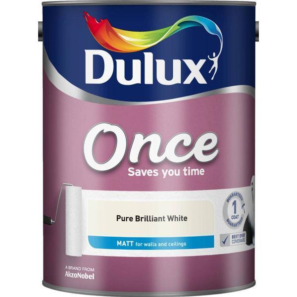 Dulux Once Matt Wall Paint, Ceiling Paint White 5L