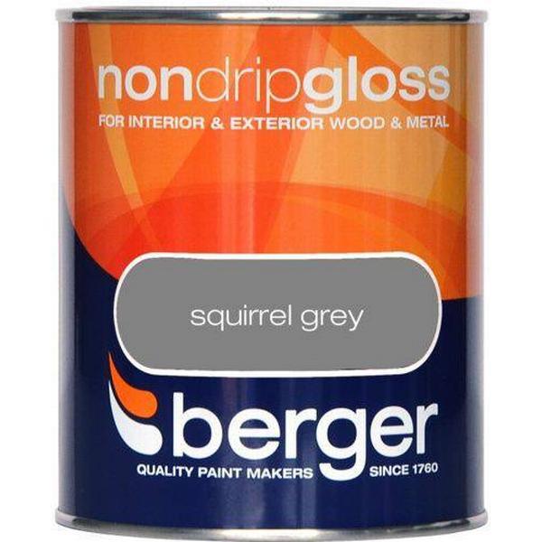 Berger Non Drip Gloss Wood Paint, Metal Paint Grey 0.75L