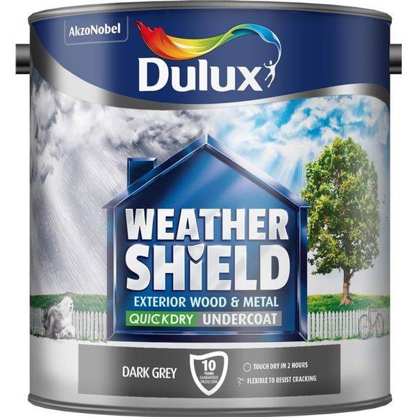 Dulux Weathershield Quick Dry Undercoat Exterior Wood Paint, Metal Paint Grey 2.5L