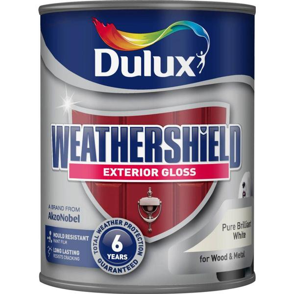 Dulux Weathershield Exterior Wood Paint, Metal Paint White 0.75L