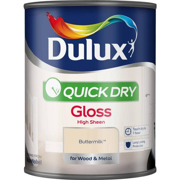 Dulux Quick Dry Gloss Wood Paint, Metal Paint Yellow 0.75L