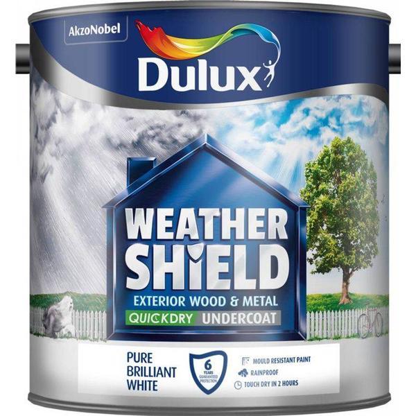 Dulux Weathershield Quick Dry Undercoat Exterior Wood Paint, Metal Paint White 2.5L