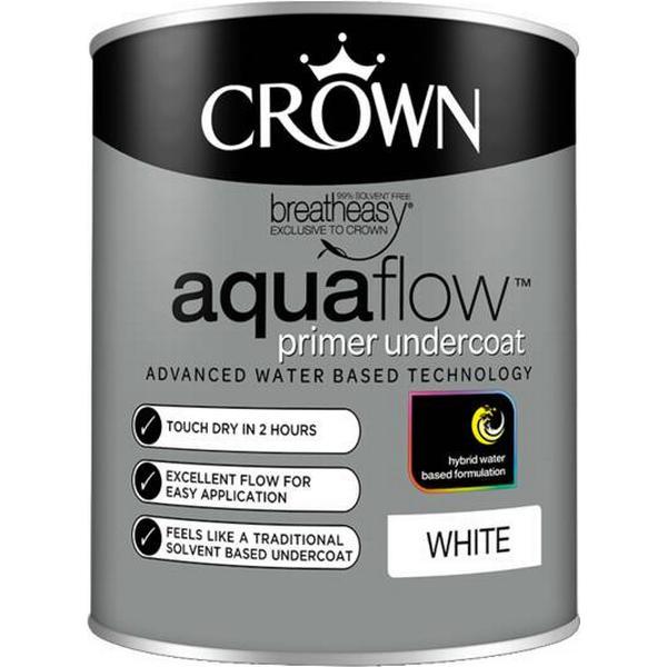 Crown Aquaflow Undercoat Wood Paint, Metal Paint White 0.75L