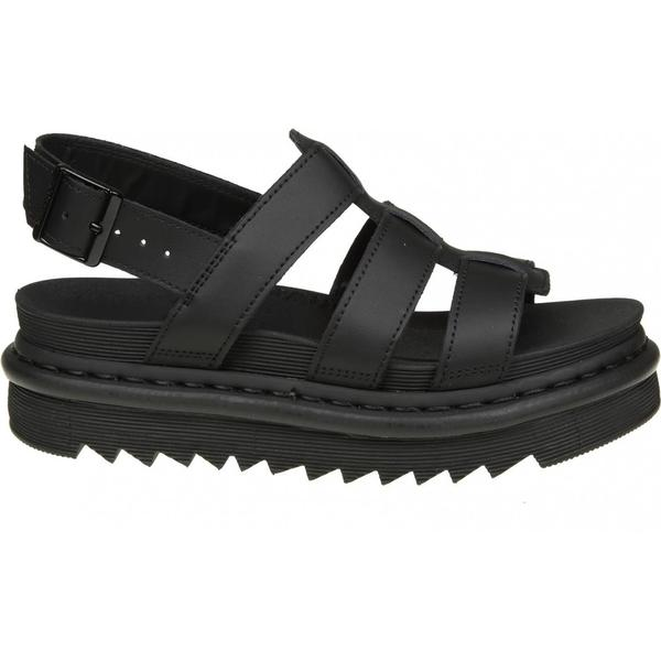 Dr. Black martens Yelena Sandals In Black Dr. Leather 1196cb