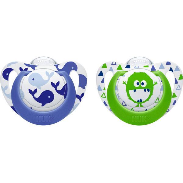 Nuk Genius Color Silikone Sutter Str. 1 Blå/Grøn 2-st