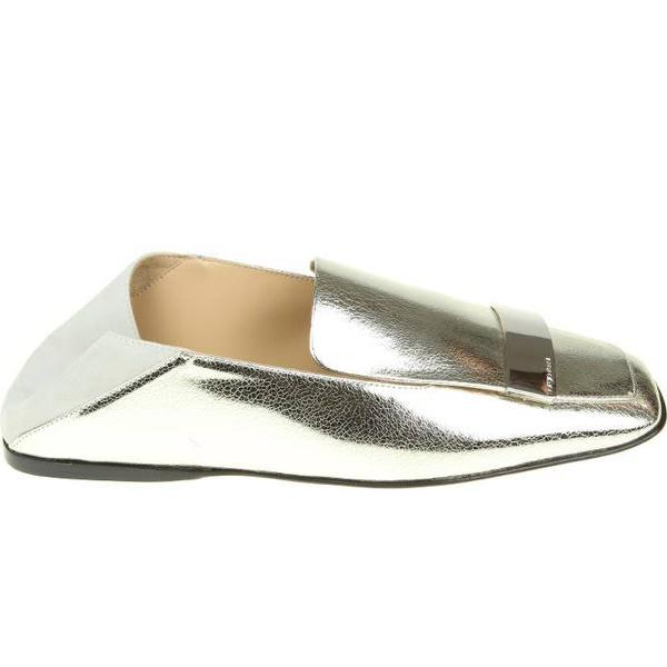 Sergio Rossi Loafers Plate In Silver Leather With Metal Plate Loafers ae708a