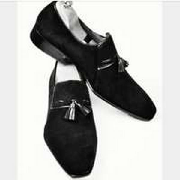 Bonanza (Global) Handmade Black Men Black Handmade suede Tassel Moccasins, Men suede leather shoes Shoes for men e58a9f