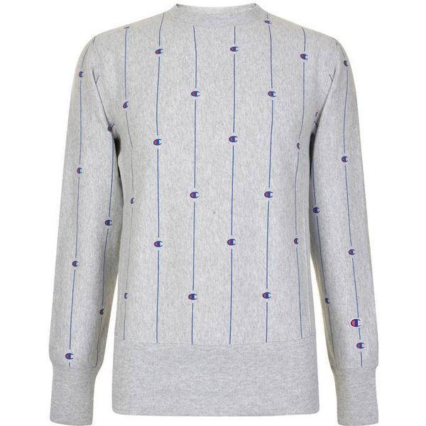 Champion Pinstripe C Logo Reverse Weave Sweatshirt Light Grey