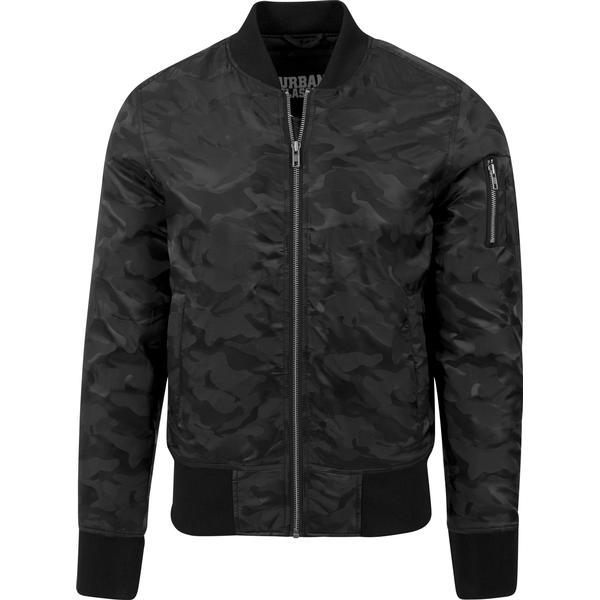 Urban Classics Tonal Camo Bomber Jacket - Black