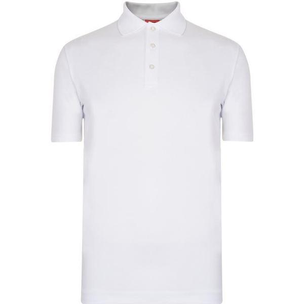 Hugo Boss Darelli Logo-Print Dropped-Hem Polo Shirt White