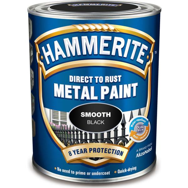 Hammerite Direct to Rust Smooth Effect Metal Paint Black 0.25L